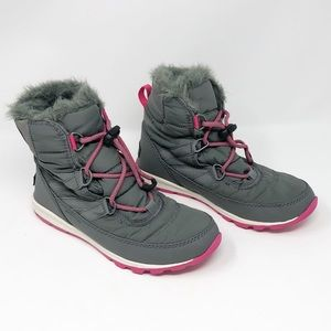 Sorel Whitney Short Lace Snow Boot Gray Pink